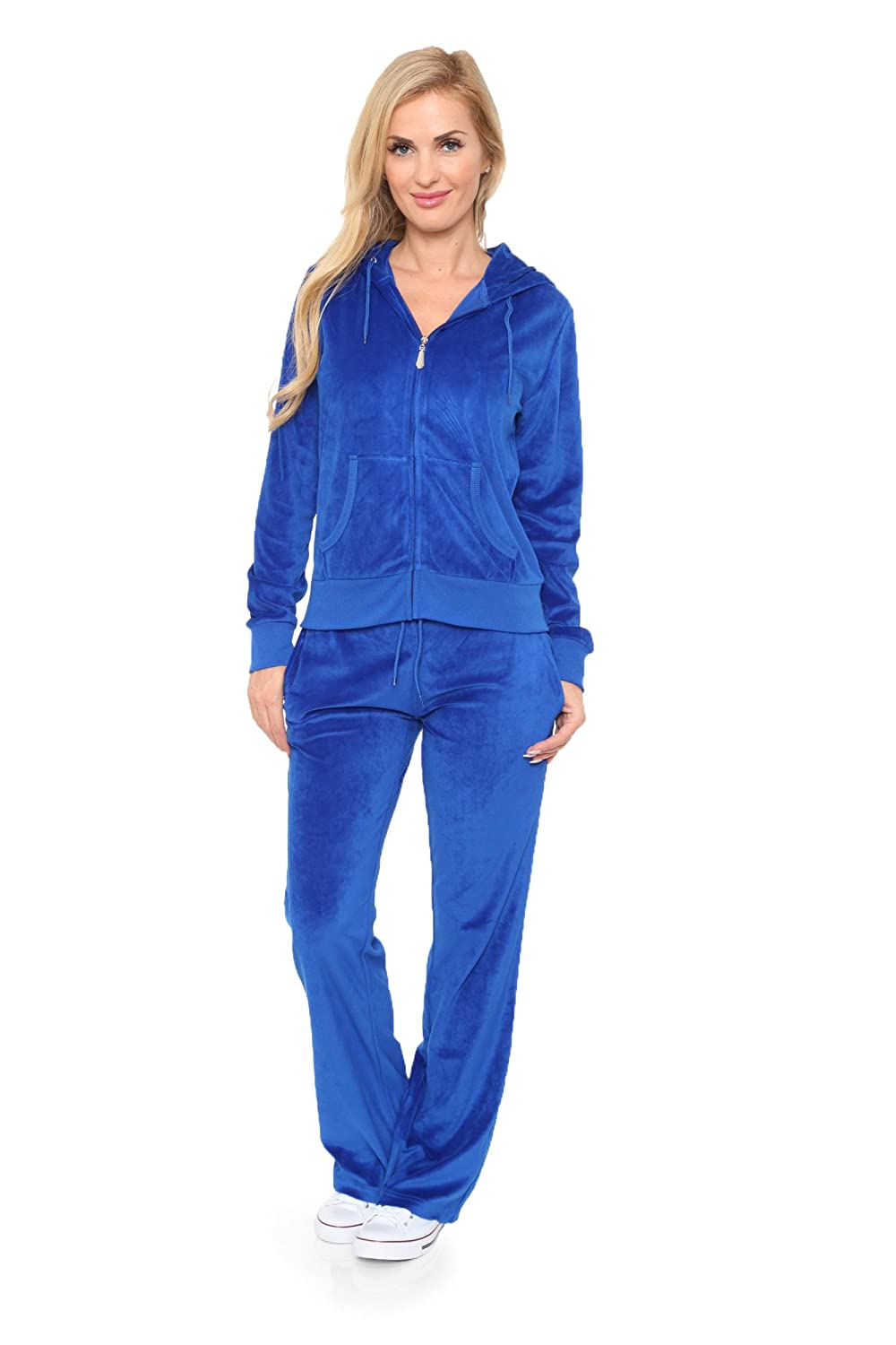 WM Womens Comfortable and Stylish Velour 2 Piece Tracksuit Set