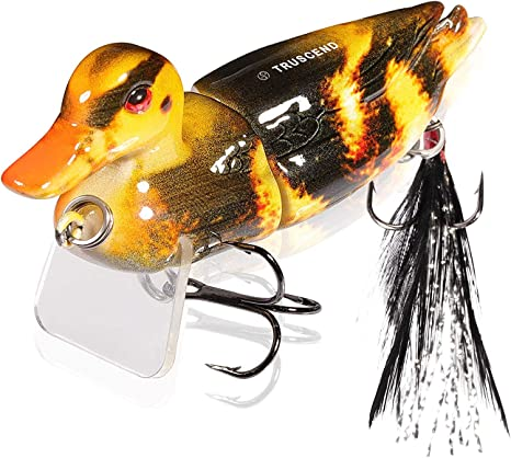 3D Duck Topwater Lures 5Pcs Fishing Baits with Treble for Soft Lure Bait Kit for Saltwater Freshwater