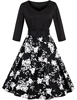 VKstar® - Vestido de mujer para otoño retro 1950, manga 3/4,