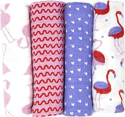 emma /& noah Couleur Rose Langes Coton B/éb/é Bavoir b/éb/és 80x80 cm Pour Poussette De Bebe Couverture B/éb/é 4 pi/èces 100/% Coton Parfait Comme Drap Housse Pour Fille et Gar/çon