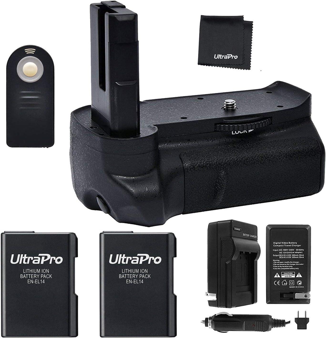 Charger 2-Pk EN-EL14a Long-Life Batteries D3300: Includes Vertical Battery Grip UltraPro Accessory Bundle D3200 Bluetooth Battery Grip Bundle F//Nikon D3100