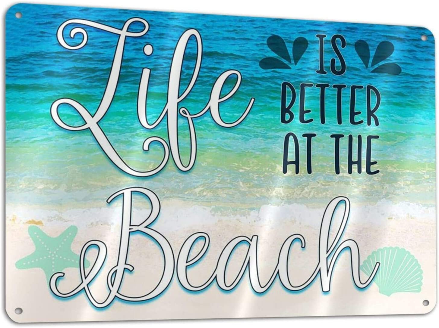 Life is Better at The Beach Metal Sign Poster Painting Tin Sign Vintage Wall Decor for Cafe Bar Pub Home Beer Decoration Crafts 12x8 in