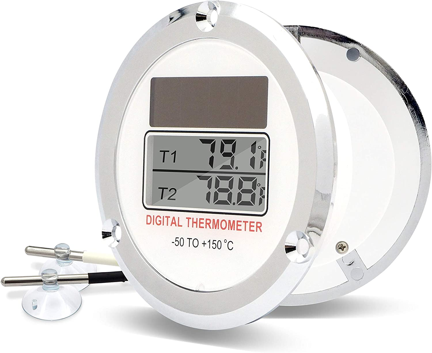 PerfectPrime TC0355, 2-Ch Dual Display Low Temperature Solar Powered Digital Thermometer NTC Thermistor