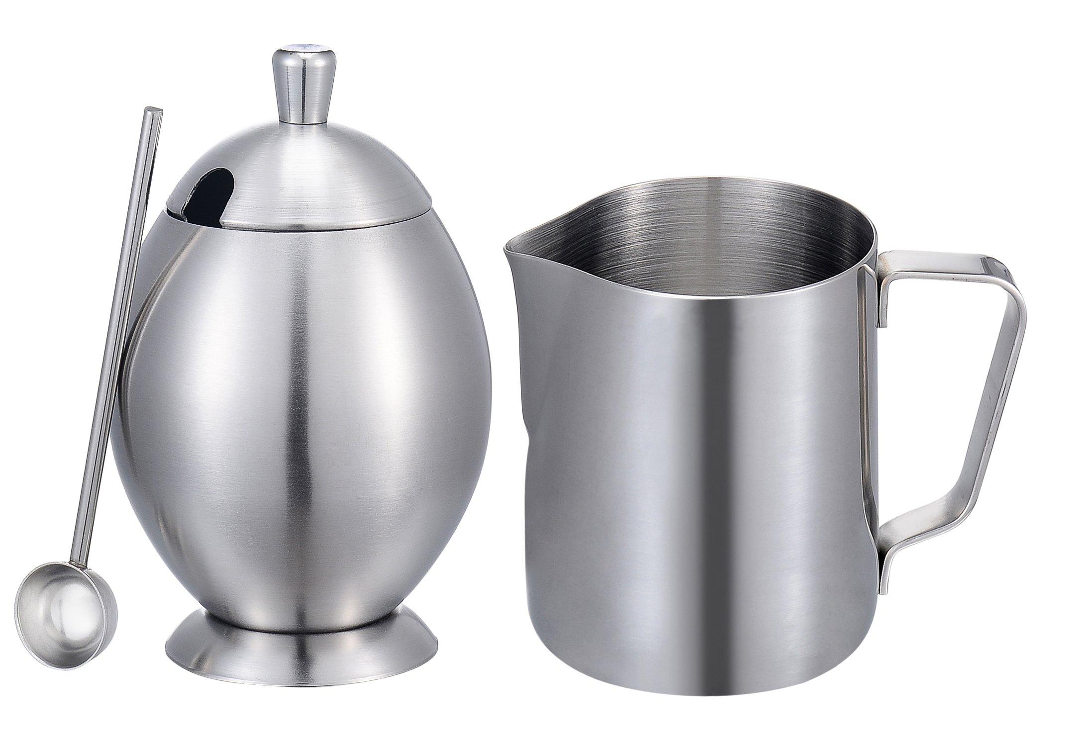 Sugar and creamer set, KSENDALO Deluxe Stainless 12Oz Milk Pitcher & Sugar Bowl Pot Set, For Coffee, Latte, Tea & Frothing Milk