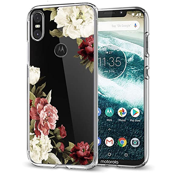 huge discount 9f589 e9474 Motorola One Case, Moto One Case, Moto P30 Play Case with Flowers, Sophmy  Shockproof Clear Floral Pattern Soft Flexible TPU Back Slim Case Cover for  ...
