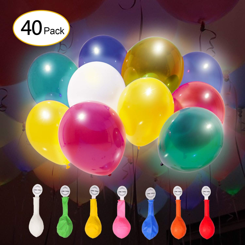 IDESION [40 Piezas Globos LED Bola de Luz Colores Decoración...