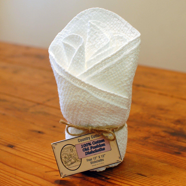 Old Fashion 100% Cotton Dishcloths - Set of 4 - 12'' x 12'' (White / White)