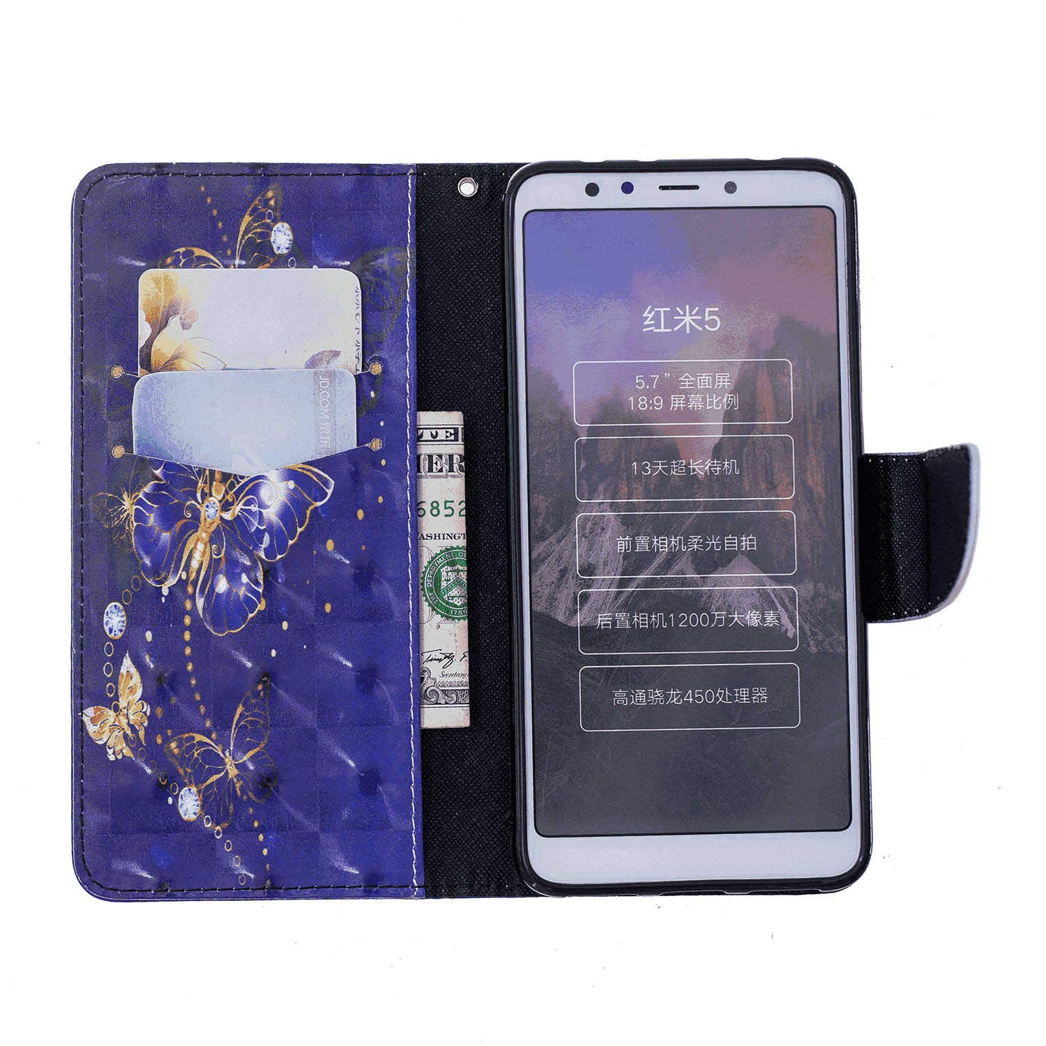 Huawei P20 LITE Flip Case Cover for Huawei P20 LITE Leather Mobile Phone case Kickstand Extra-Protective Business Card Holders with Free Waterproof-Bag Gripping