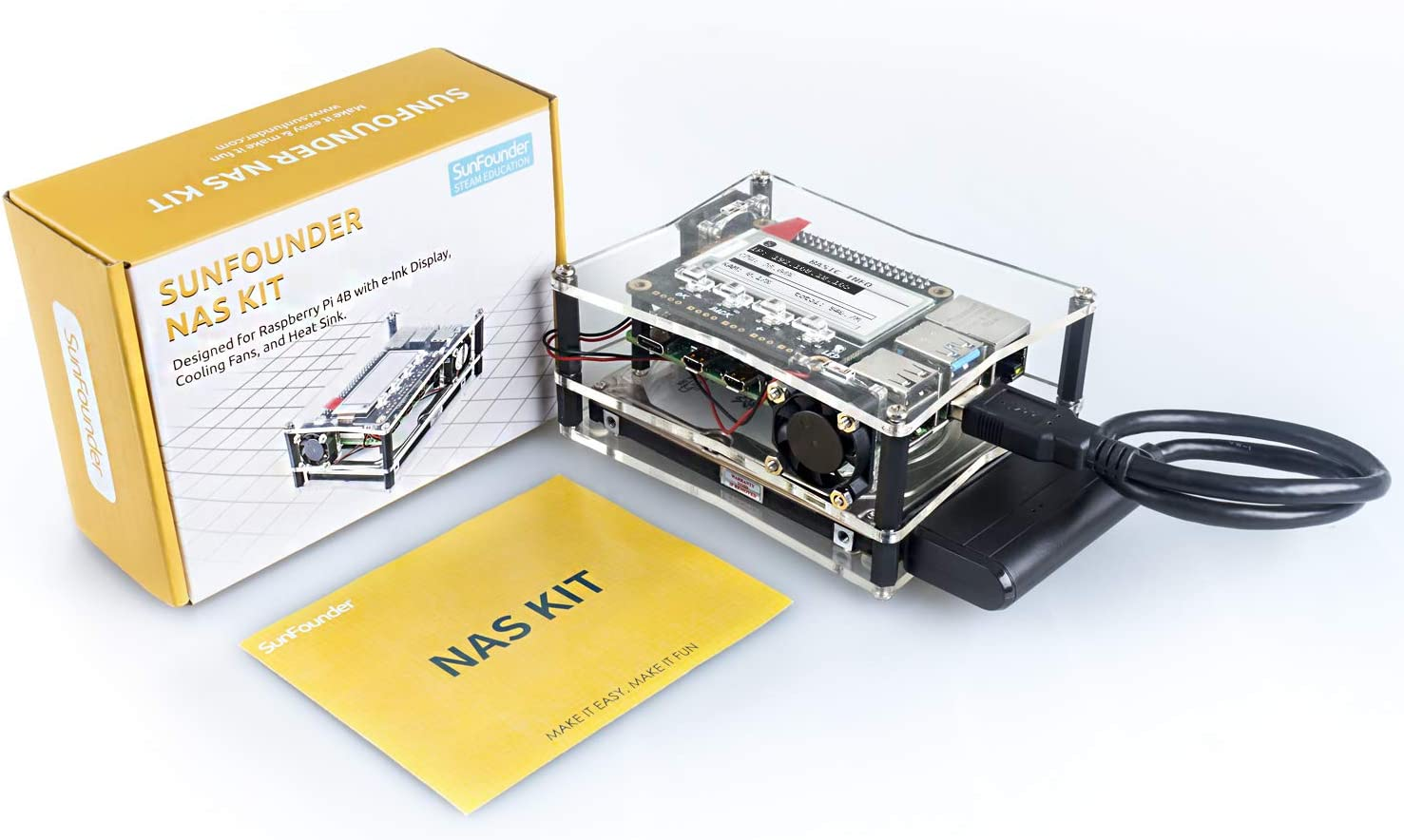 SUNFOUNDER NAS Kit for Raspberry pi 4B 3B+ 3B 3A+ 2B, NAS Hat, Dual Fan, Micro SD Card Included: Amazon.es: Electrónica