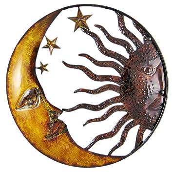 Amazon.com: Metal Wall Sculptures Celestial Hand Painted Sun Moon ...
