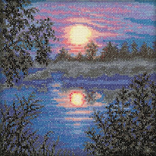 "RTO C113 18 Count Evening Counted Cross Stitch Kit, 6"" by 6"""