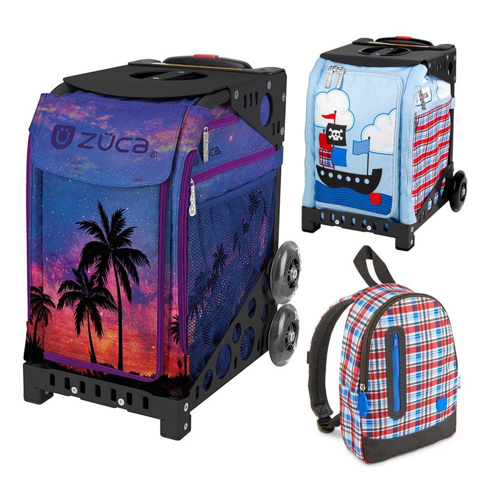 Zuca Island Life Insert Bag in Black Frame (Full-Sized Sport) with Mini Pirate Bag for Kids and Explorer Backpack