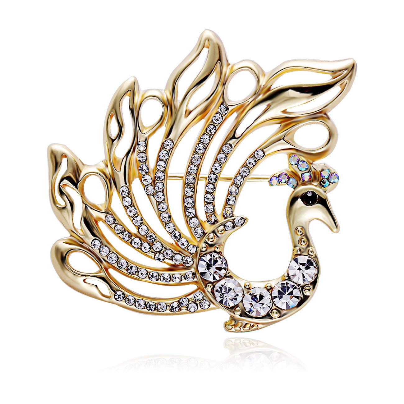 RUXIANG Crystal Pride Peacock Bird Animal Pin Brooch Clothes Jewelry (gold)
