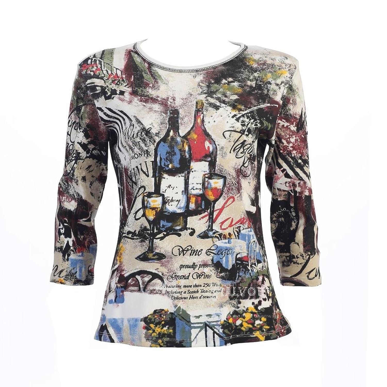 "Jess & Jane ""Wine Dine"" Dressy or Casual Rhinestone Ladies Tee Shirt 14-393WT"