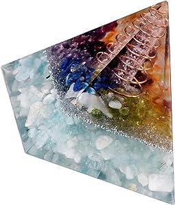 "TUMBEELLUWA 2"" Orgone Crystal Stone Energy Pyramid Generator Healing Crystal Yoga Meditation Protection Home Office Decoration, Aquamarine"