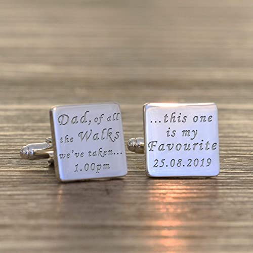 SILVER Engraved Father of the Bride RECTANGLE Wedding Cufflinks Personalised