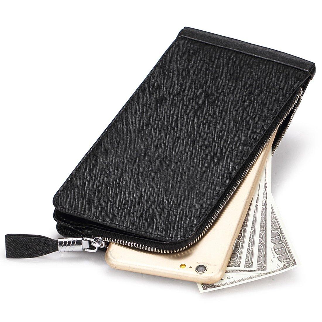 Huztencor Women's Credit Card Holder RFID Blocking Leather Multi Card Organizer Wallet Slim Long Zipper Bi-fold Business Card Case Clutch Wallet with ID Window Black (FBA) by Huztencor (Image #5)