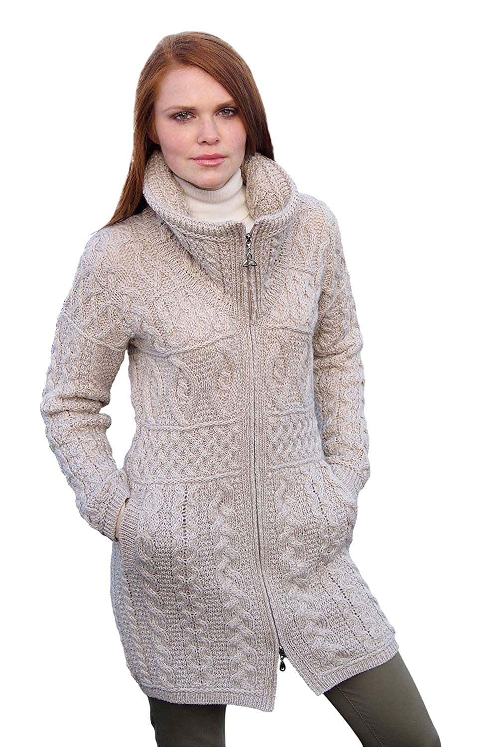 Parsnip West End 100% Irish Merino Wool Double Collar Aran Knit Coat Knitwear