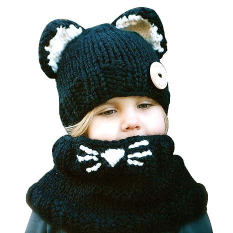 xhorizon CFL Cappello a Maglia con Orecchie di Gatto Animale Caldo per  Inverno da Bimbi Bambini d7af7bec296f