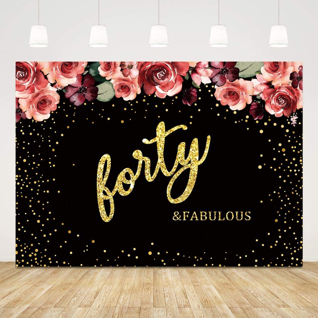 Amazon Com Fabulous Forty Birthday Backdrop Black And Gold