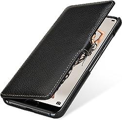 StilGut Book Type Case, Custodia per Huawei P20 PRO a Libro Booklet in Vera Pelle con Funzione on/off, Nero con Clip