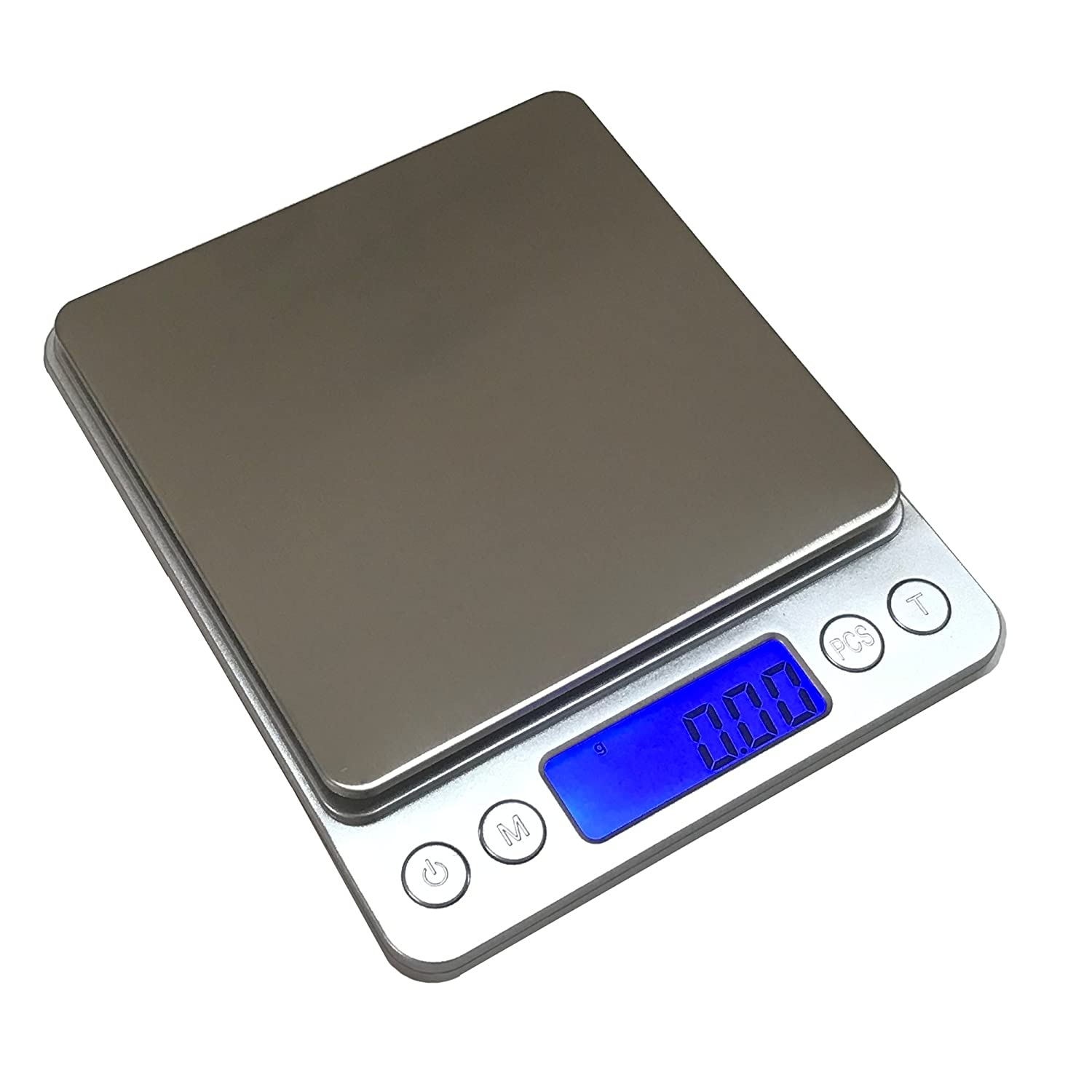 TACLKA Kitchen Scale, 500 x 0.01g Digital Scale, High-precision Pocket Food Scale, Multifunctional Pro Scale with Back-Lit LCD Display, Tare, PCS Features, Stainless Steel (Silver)