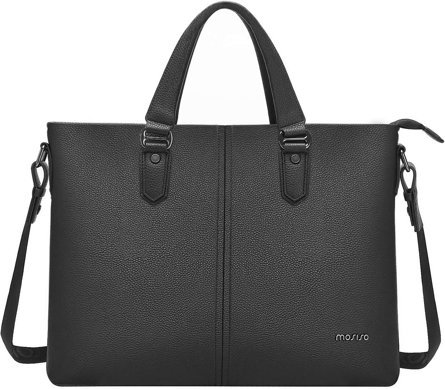 MOSISO 15.6 inch Laptop Messenger Shoulder Bag, Business Office Bag for Men Women, Water Resistant Premium PU Leather Briefcase Handbag Carrying Case Compatible with MacBook Acer HP Dell Lenovo, Black