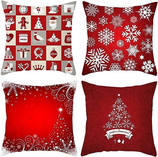 KOIOK Navidad Cojines Sofas 4 Pack algodón Funda Cojines Funda de ...