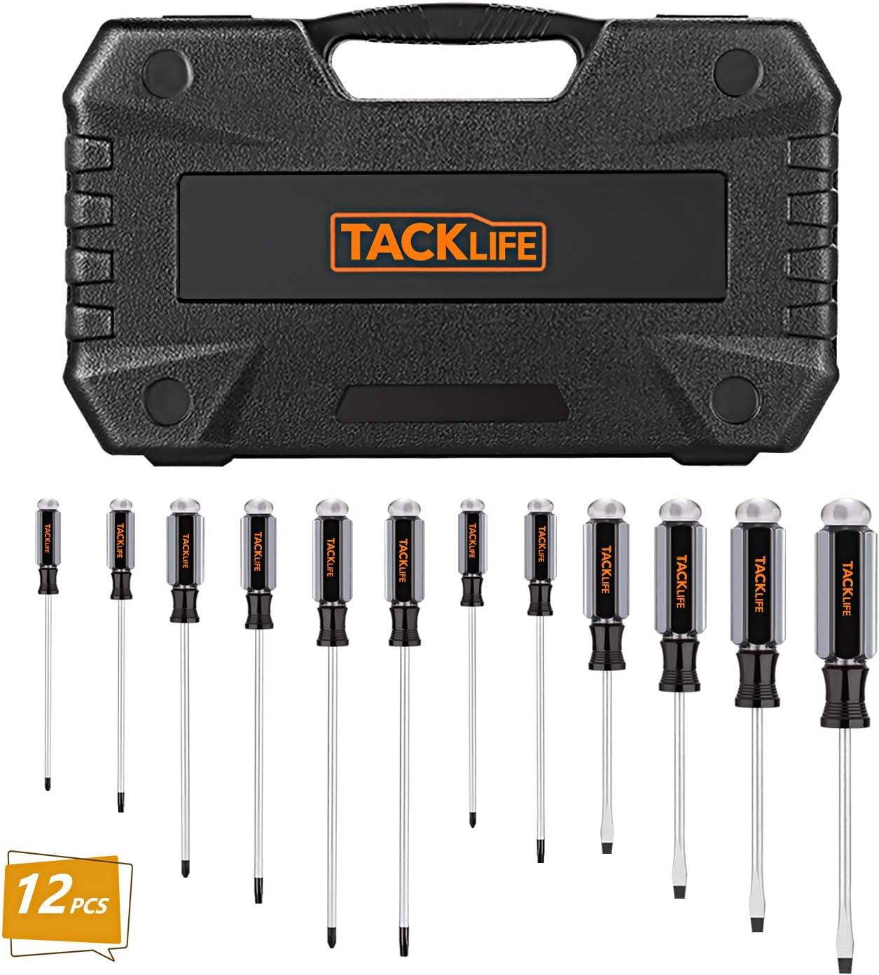 TACKLIFE Juego de destornilladores magnéticos profesionales 12PCS, mango de acetato para la reparación de electrodomésticos-HSS7B