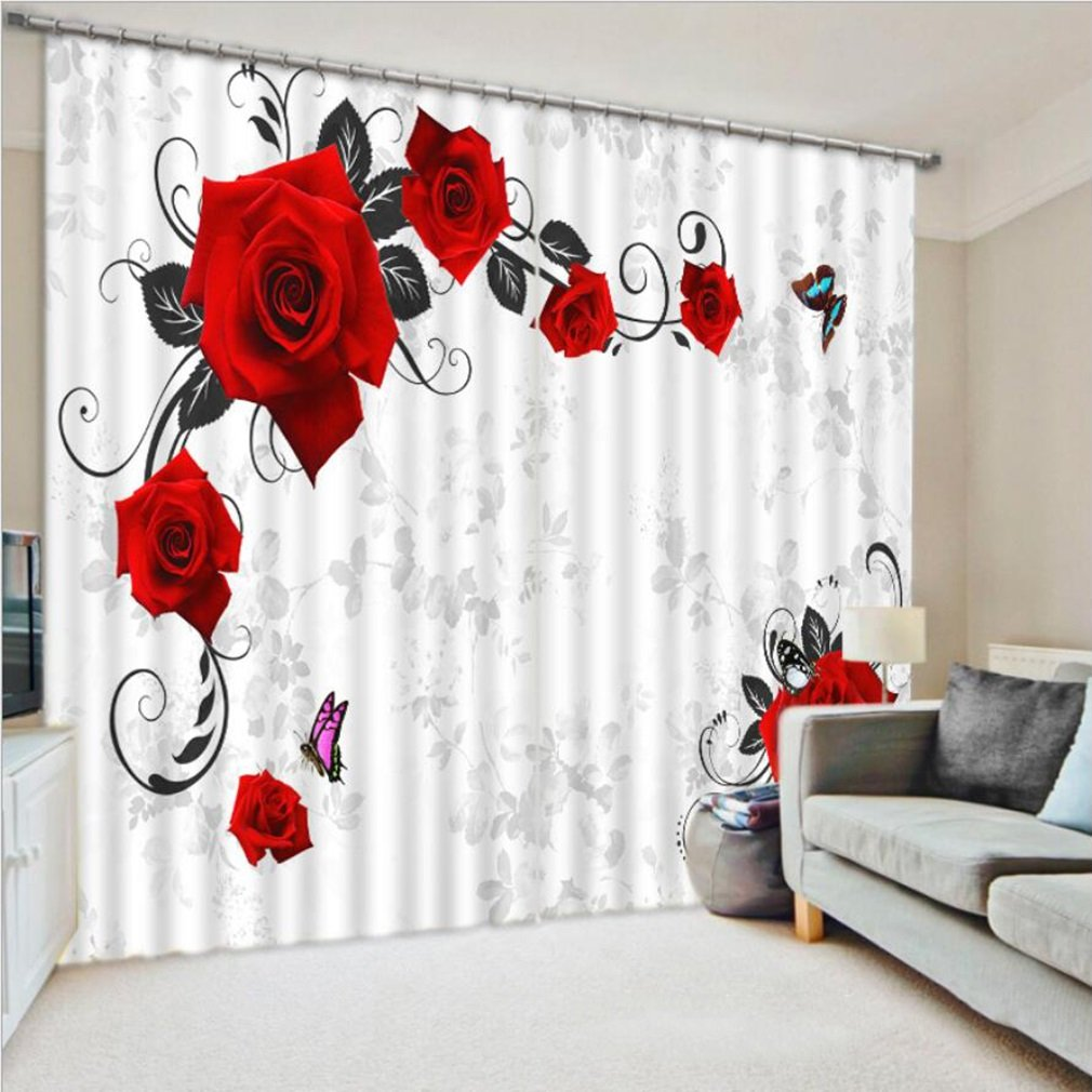 3D Curtains Red Rose Print Luxury 3D Window Curtains For Living Room Bed Room Drapes Office Hotel Wall Tapestry Multi-size Draperies ( Size : 2.64x1.6M )