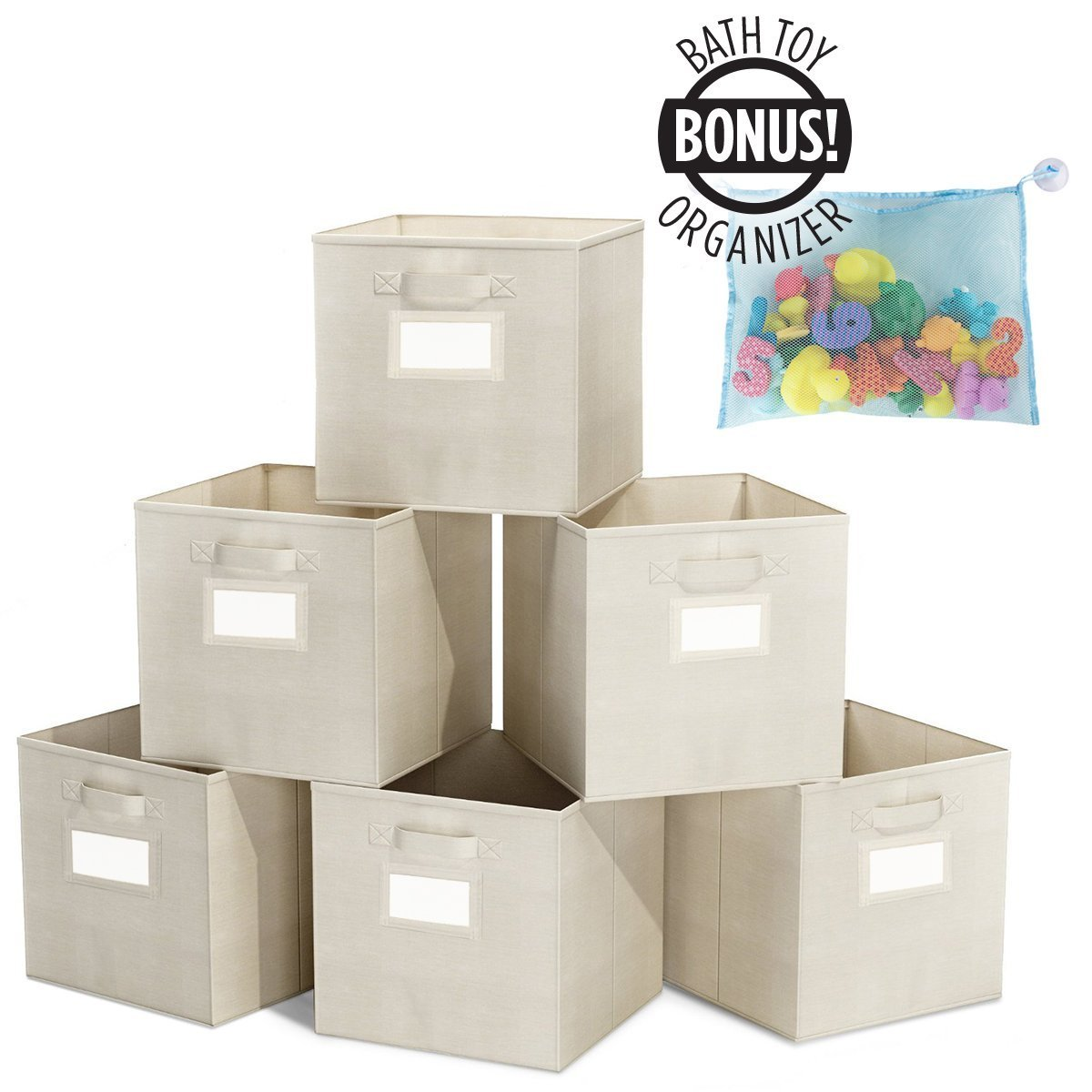 6 Pack Foldable Cube Storage Bins - Bonus Toy Organizer- With Label Holder for Better Organization - Fabric Cubes Are Collapsible Great Organizer for Shelf, Closet (6 Pack Laundry Cubes)