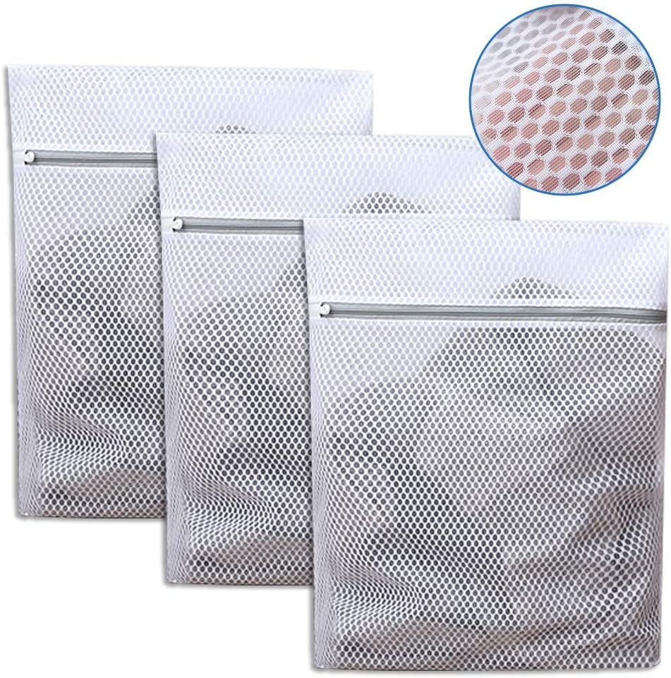 OXIVE Mesh Laundry Bags, Washing Machine Wash Bags, Reusable and Durable Mesh Wash Bags for Delicates Blouse, Hosiery, Underwear, Bra, Lingerie Baby Clothes(3 Set, L)