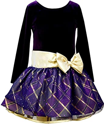 2e401ec414c Amazon.com  Bonnie Jean Big Girls  Purple Bodice Plaid Hipster Dress with  Gold Bow  Clothing