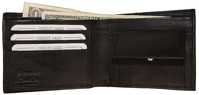 47bd1f463803 Improving Lifestyles Leather Men Bifold Wallet Black Change Pocket FREE  Organza Gift Bag SUN1116BK