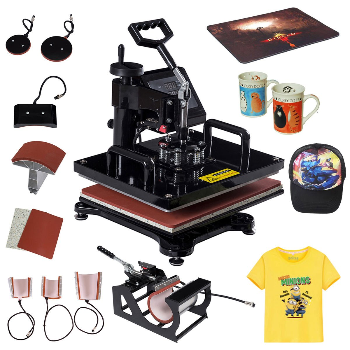 Tangkula 8 in 1 Heat Press Machine Digital Transfer Sublimation T-Shirt Mug Hat Plate Cap