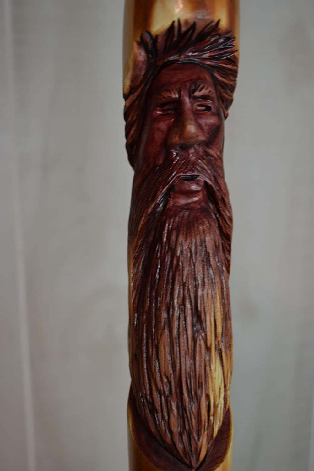 Mountain Man Walking Stick Hand Carved Sweet Gum Hiking Staff Choose Height up to 60