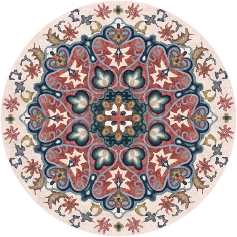 ZMIN Round Moroccan Area Rug,Vintage Floral American Carpet Decor Bedroom Living Room Floor Mat Bedside Rug Blanket-f 160x160cm(63x63inch)