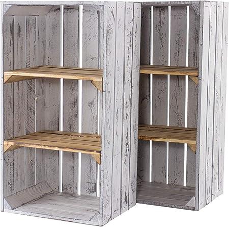 2 Cajas de Madera Grises, estrechas, con Dos estantes flameados, Ideal como estantería Vintage Moderna en casa y jardín, Nuevas, 40 x 31 x 75 cm: Amazon.es: Hogar
