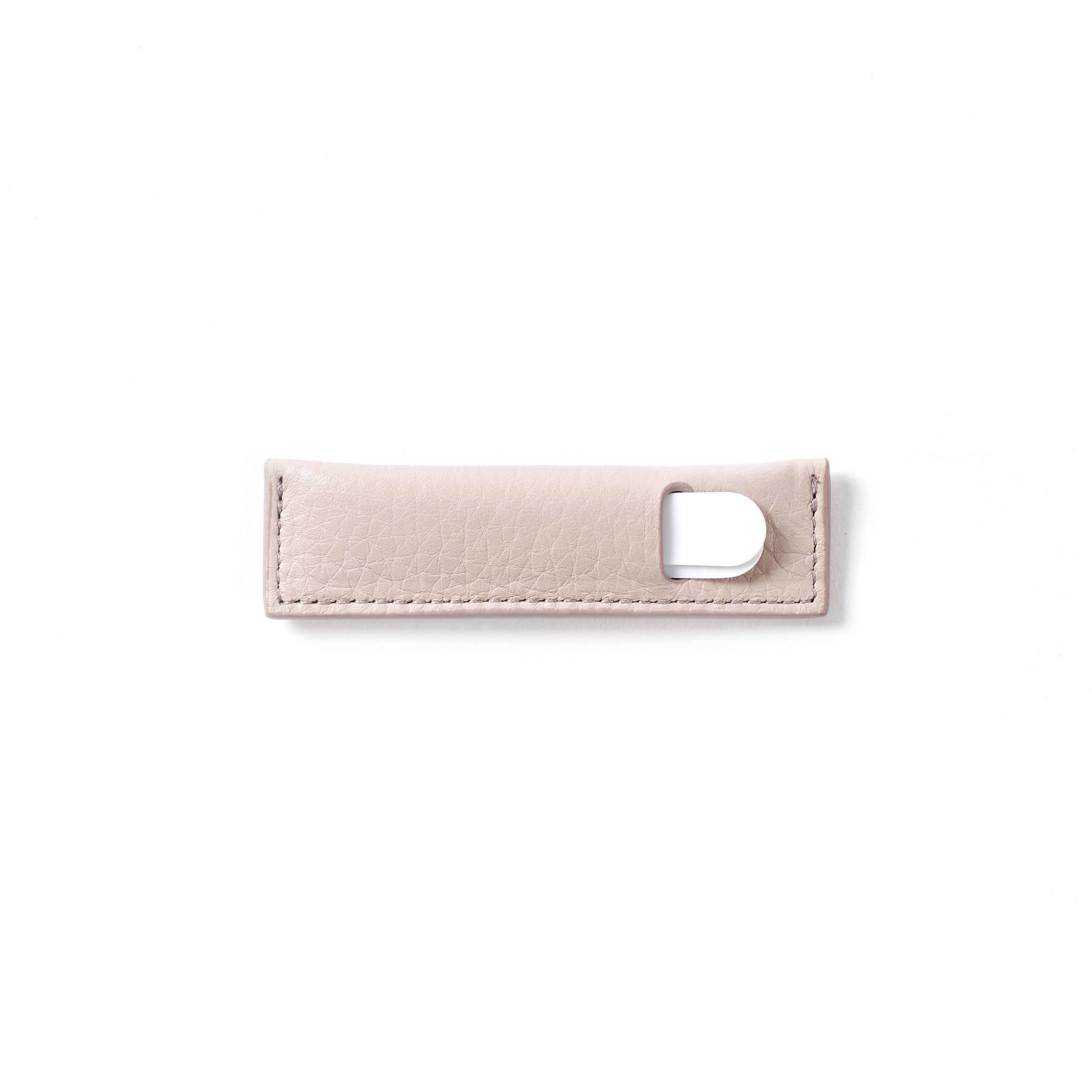 Collar Stay Case - Full Grain Leather - Stone (gray)