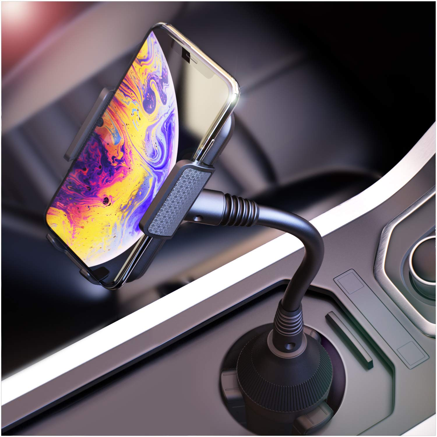 Phone Holder For Car, Cup Holder Phone Mount, Cell Phone Cup Holder for Car Compatible with iPhone Xs,XS MAX,XR,X,8,8Plus,7,7Plus,6,6Plus, Galaxy S7,8,9,10, Google and all smartphones by Bestrix by Bestrix