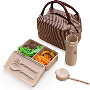 Eco-Wheat Straw Recycled Plastic Lunch Bags Set for Women Food Container - Set of 3 - Perfect Lunch/Food Box and Water/Juice 10 Oz Cup Storage Bag, Reusable, Bpa-Free, Dishwasher/Microwave Safe