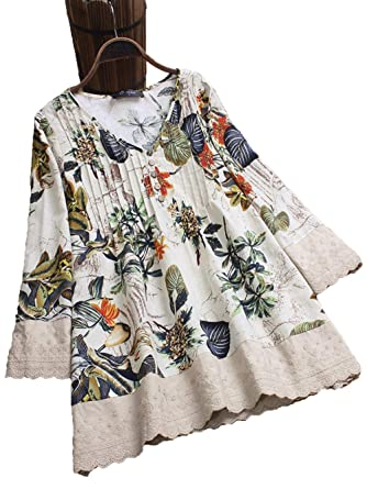 acea7c6e79b Orz.orange Women's Plus Size Floral Printed Chinese Style V-Neck Long Sleeve  Fashion Tunic Blouse A-Line Slim Pleated Shirt at Amazon Women's Clothing  store ...