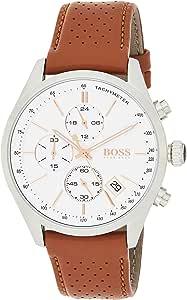 Hugo Boss Mens Quartz Watch, Chronograph Display and Leather Strap