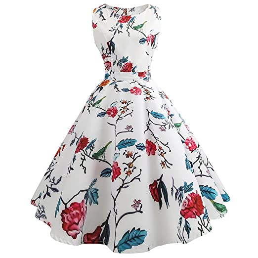 Women Dress Godathe Women Vintage Printing Bodycon Sleeveless Casual Evening Prom Swing Dress S-2XL