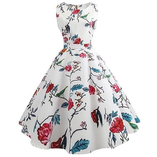 Women Dress Godathe Women Vintage Printing Bodycon Sleeveless Casual Evening Prom Swing Dress S-2XL
