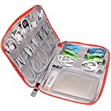 BUBM Cable Bag Electronics Accessories Carry Bag Cable Organizer with Cable Tie and Handle Small Size (Black Red)