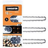 """SUNGATOR 3-Pack 16 Inch Chainsaw Chain SG-S56, 3/8"""" LP Pitch - .050"""" Gauge - 56 Drive Links, Compatible with Echo…"""