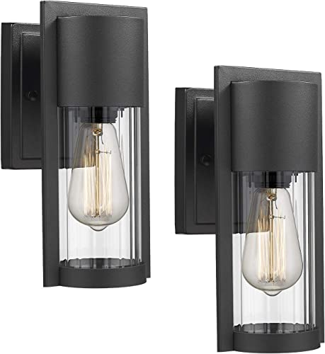 Osimir Exterior Wall Mount Light 2 Pack, 1-Light Outdoor Wall Sconce in Black Finish with Clear Ribbed Glass Lamp Shade, 2254 1W-2PK