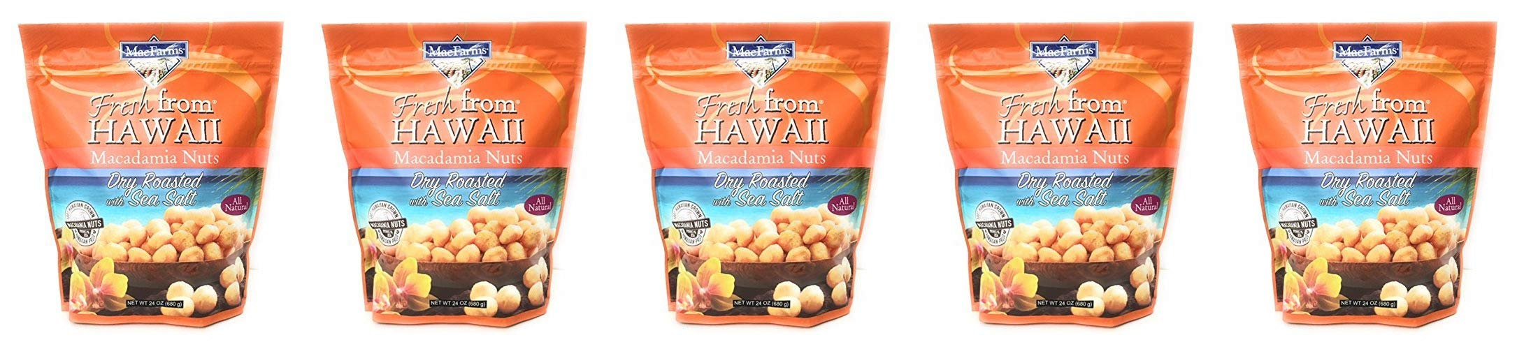 MacFarms Dry Roasted Macadamia Nuts With Sea Salt Fresh From Hawaii 24 Ounce (5 pack)