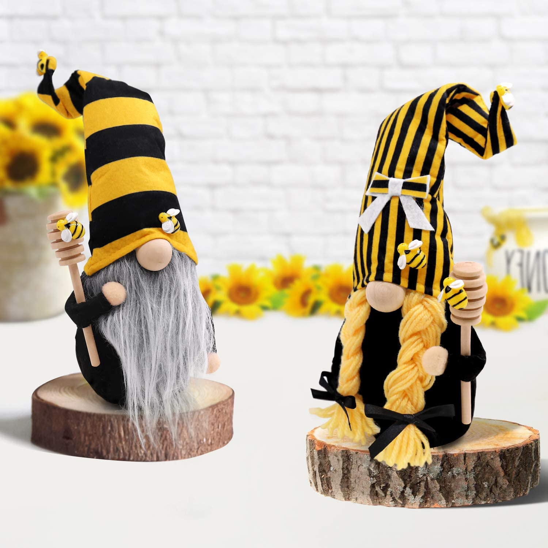 CiyvoLyeen Bumble Bee Striped Gnome Scandinavian Tomte Nisse Swedish Honey Bee Elf Home Farmhouse Kitchen Decor Bee Shelf Sitter Tiered Tray Display, Set of 2